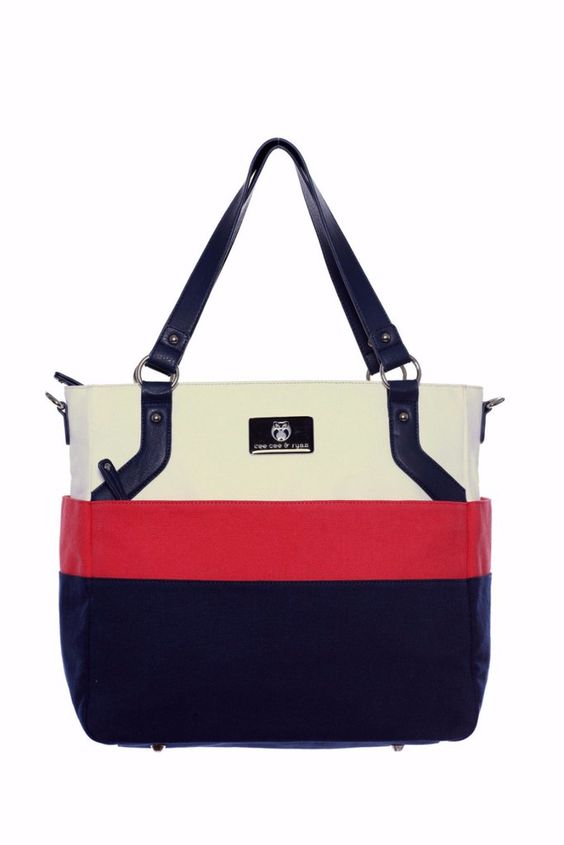 Diaper Bag in Shell/Coral/Navy - Alexis Baby Bag: