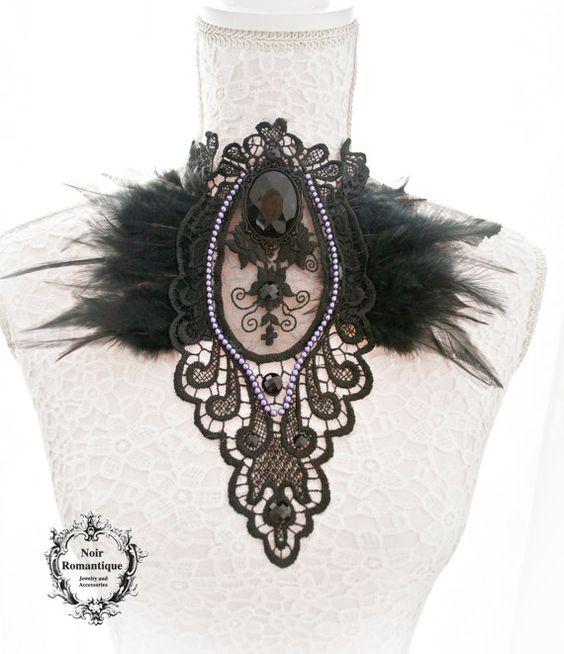 Schwarze gothic Spitze und Feder Halskette/Bruststück-Gothic Halskette-Kette-Federn-gotischen Spitzenkragen