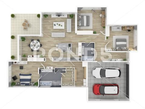 Floor Plan Of A House Top View 3d Illustration Open Concept Living House Layout Stock Illustration Ad Top View Illus Open Concept Floor Plans House Layouts