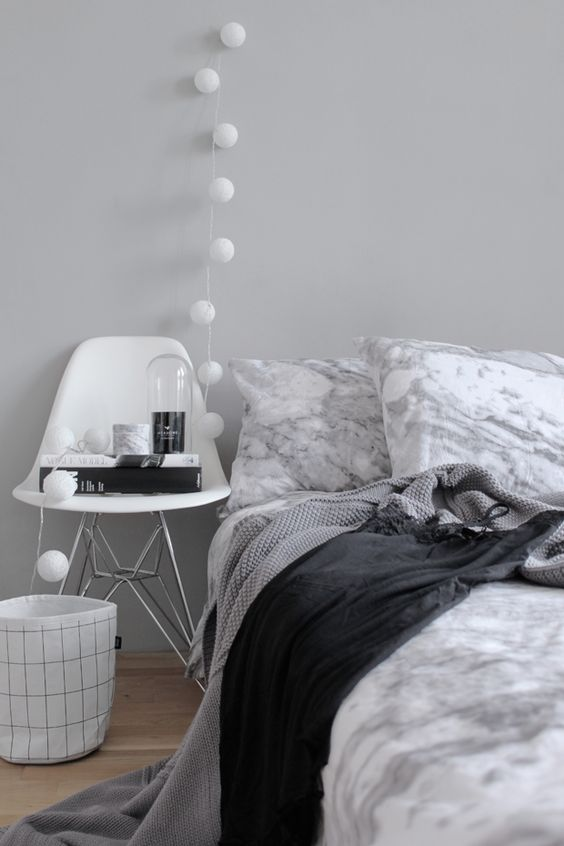 Black chairs grey and modern on pinterest for Grey minimalist bedroom