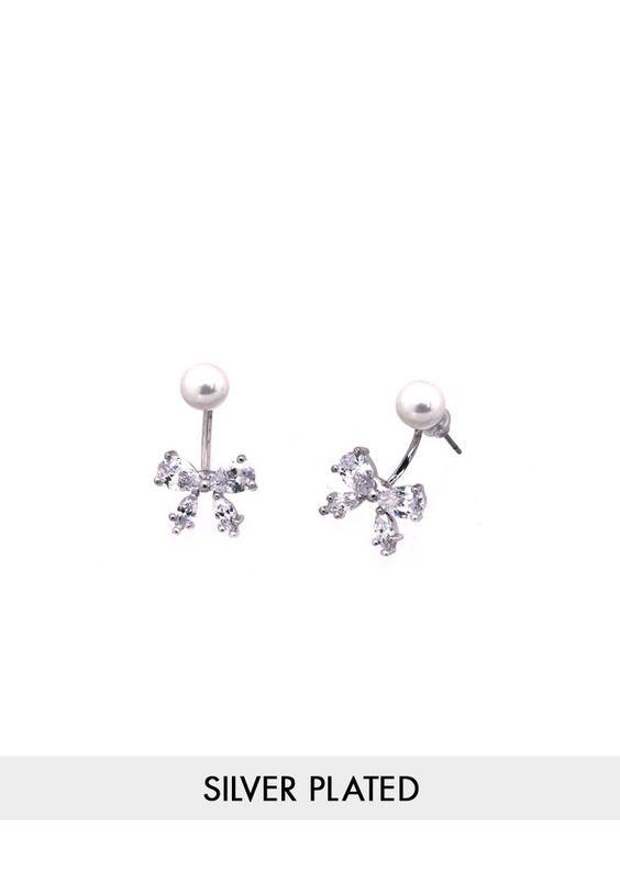 Bow Swing Earrings - Silver