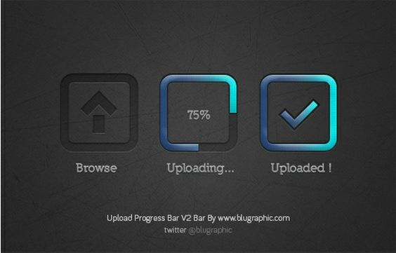 XOO Plate :: 3 Stage Upload Progress Bar Set PSD - Upload progress bar in 3 stages - browse, uploading, and uploaded - features dark inset styling with gradient blue effects - PSD.