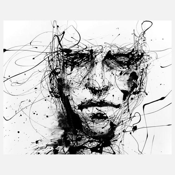 Peinture portrait style encre de chine illustrations for Dessin graphique noir et blanc