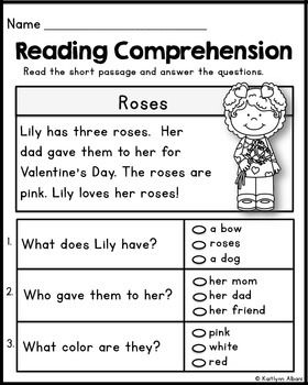 kindergarten reading comprehension passages valentine 39 s freebie kindergarten. Black Bedroom Furniture Sets. Home Design Ideas