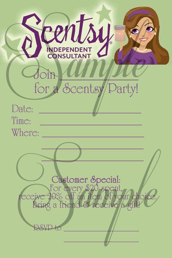 Scentsy Consultant Fill In Party Invitation Custom Printable