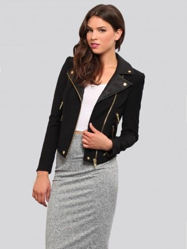 Black jacket featuring a moto collar with snaps, zipper details at the cuffs and an off-center zipper closure