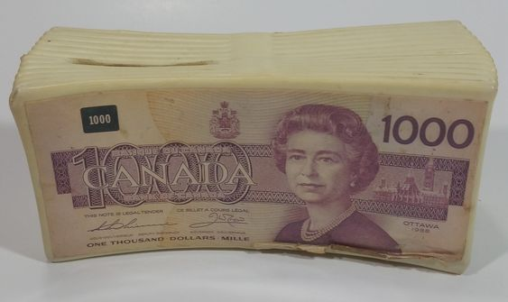 Rare Hard To Find 1000 Canadian Dollar Paper Bill Stack Plastic Coin Bank Canadian Dollar Saving Money Canada Coin Bank
