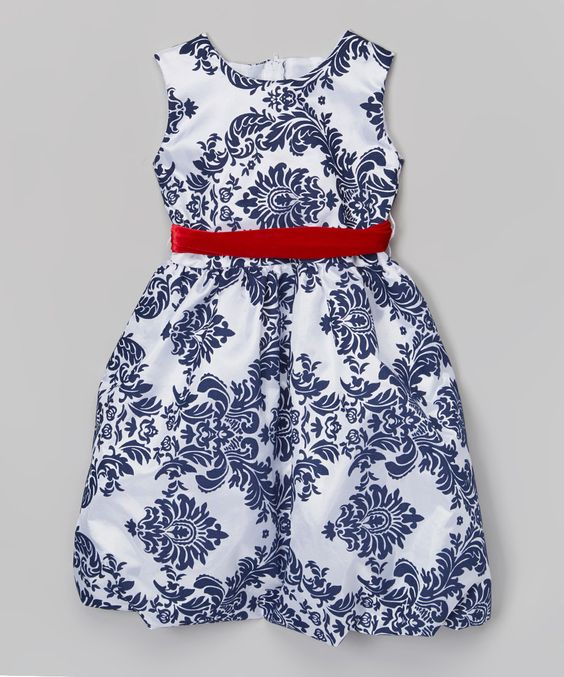 Love this Navy & White Damask Bubble Dress - Infant & Girls by Kid Fashion on #zulily! #zulilyfinds