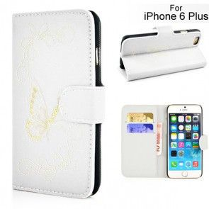 Butterfly Pattern Magnetic Leather Flip Stand Case with Card Slot for iPhone 6 Plus - White