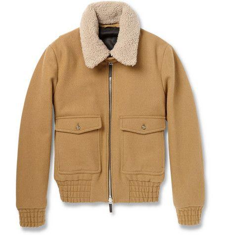 AMI Shearling-Collar Wool Bomber Jacket | Outerwear | Pinterest