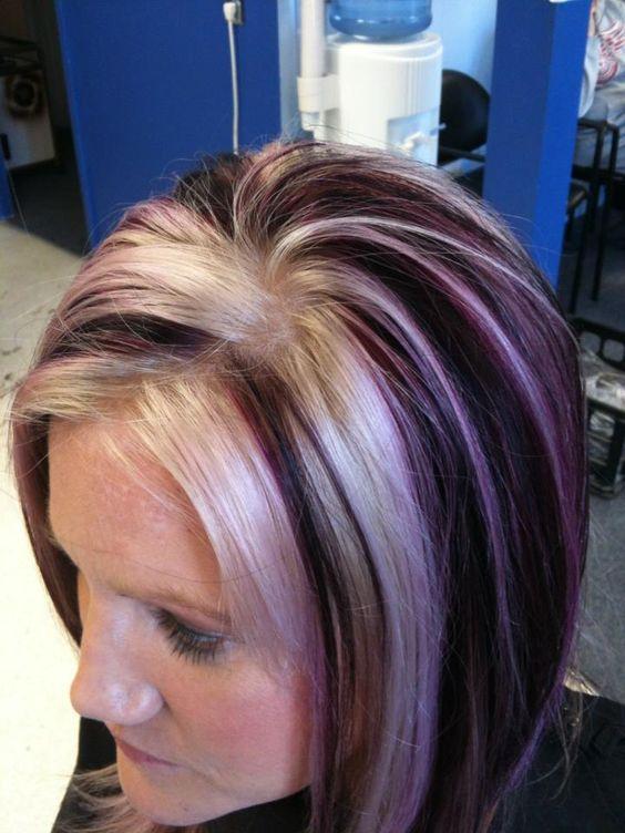 Blonde And Violet Fringe Salon Lennon Mi Color