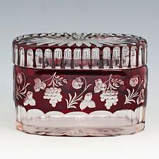 VINTAGE to ANTIQUE BOHEMIAN GARNET RUBY OVERLAY CUT to CLEAR CRYSTAL BOX CASKET