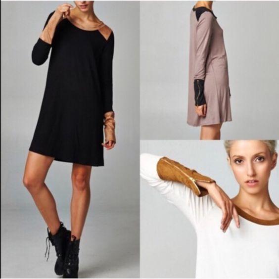 1 HR SALEZOE Zippered Sueded Cuff Tunic Dress HP 8/26Zippered Sueded Cuff Tunic Dress. AVAILABLE IN MOCHA & BLACKNO TRADE Bellanblue Dresses Long Sleeve