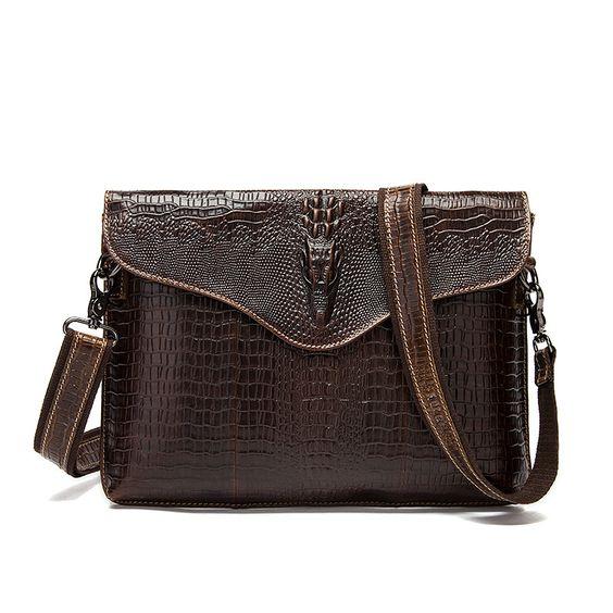 Vintage Genuine Leather Men Bag Business Crocodile Men's Shoulder Crossbody Bags Day Clutch Messenger Bags Men Leather Handbags
