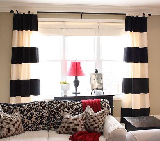 black, white and red :). living room redo