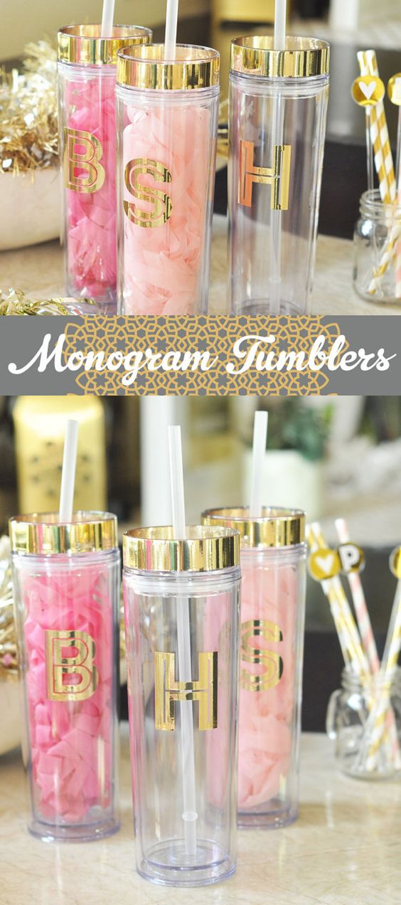Bridesmaid Gift Ideas for your stylish friends! These metallic gold Monogram Tumblers are sparkly gifts for the maid of honor and bridesmaids. These