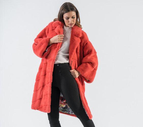 Coral Mink Fur Coat