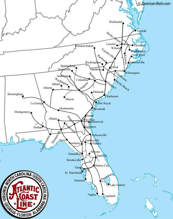 The Atlantic Coast Line Railroad Atlantic Coast Line R R - Atlanta to nashville rail on map of us