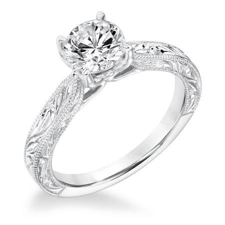 31-10034-E Vintage Diamond Engraved And Milgrain Solitaire With Surprise Diamonds Engagement Ring SKU: 31-10034ERW-E.01 www.cmijewelry.com