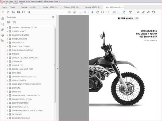 Ktm 690 Enduro R 2011 Workshop Service Repair Manual In 2020 Repair Manuals Ktm 690 Enduro Ktm 690