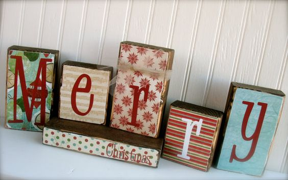 "Double sided wood blocks. . . ""Merry Christmas"" and ""Give Thanks"" on etsy."