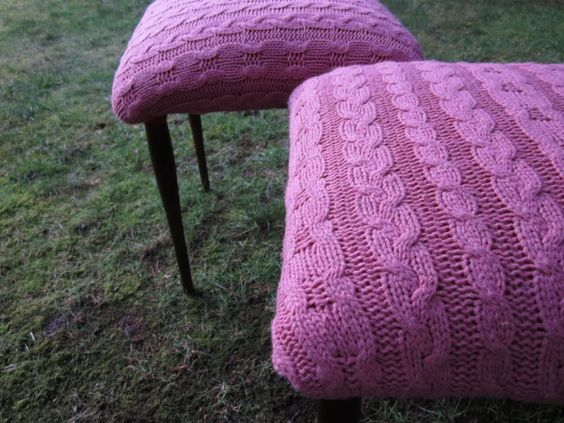 Old sweater+cheap thrift store stools=fantastic