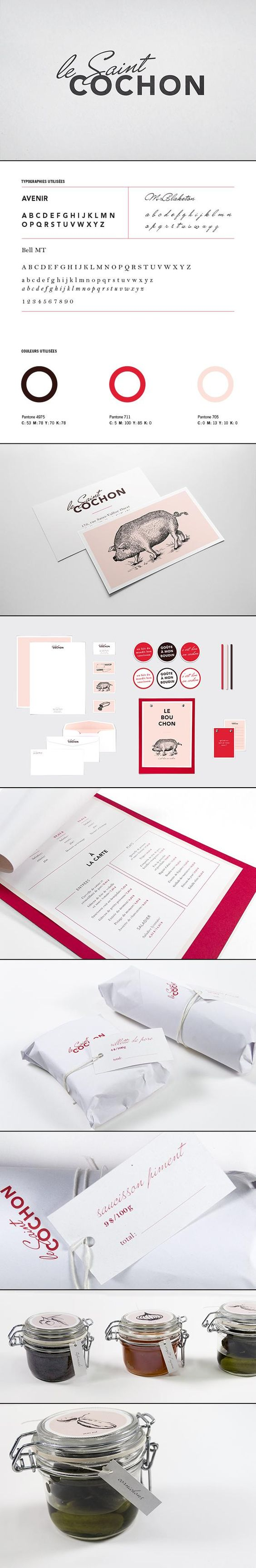 Le Saint Cochon uses memorable colors and vintage graphics to build a beautiful identity | #Branding #Pink: