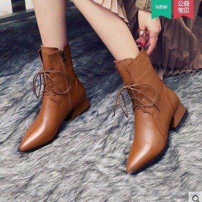 Winter Lace Up Leather Women High Heels Square Toe Ankle Boots – Putshy