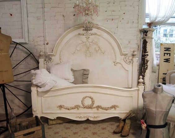Painted Cottage Shabby Tea Stained Romance Bed~ hommina hommina