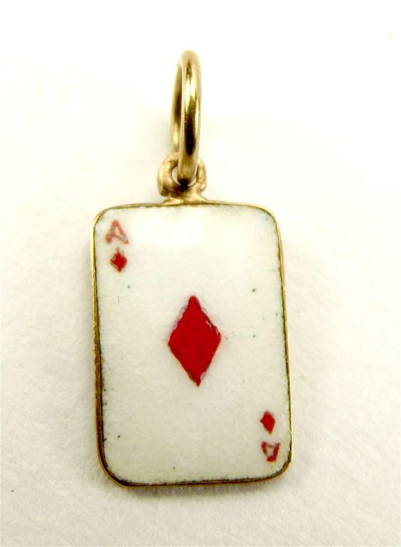 1956 Vintage 9ct Gold & Enamel ACE Of DIAMONDS Charm
