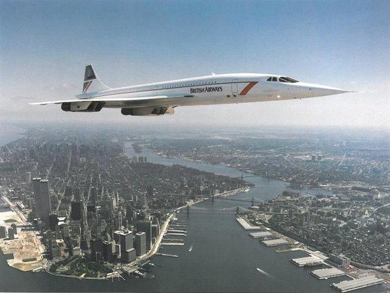 British Airways Concorde flying over lower Manhattan NYC