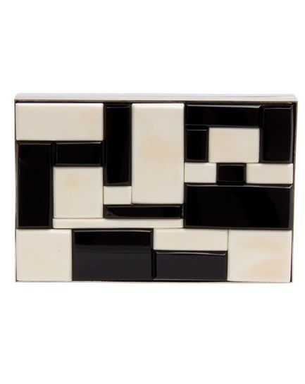 Metal & Acrylic Clutch White and Black