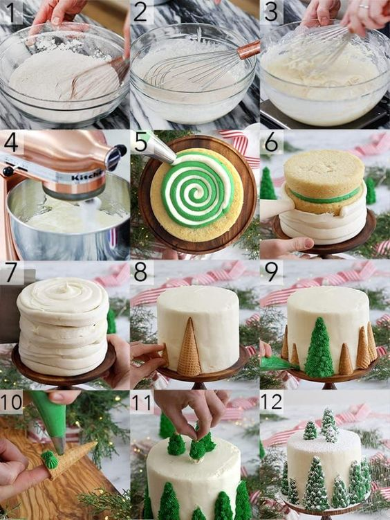 A photo collage showing the steps to make a vanilla Christmas tree cake