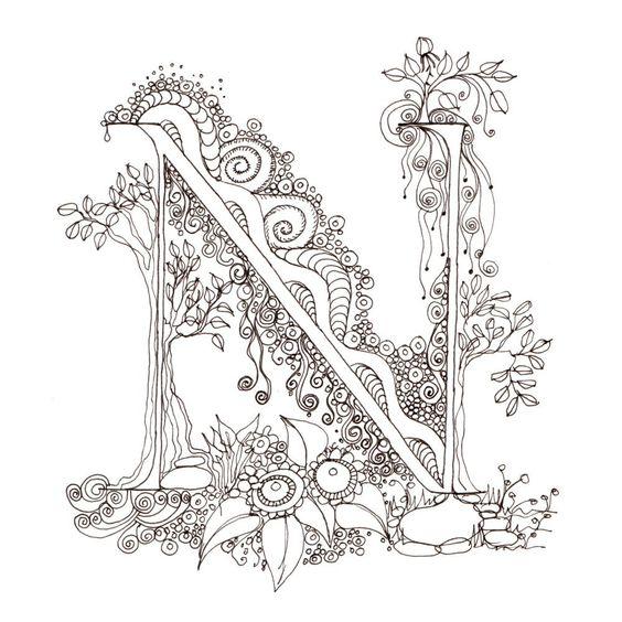 Monogram - N - Initial, Colour-Me-In Illuminated Letters, original ...