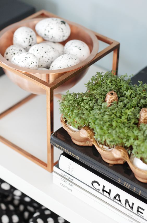 #copper vessels planted with cress, cradling eggs in the #kitchen #design By Lassen: