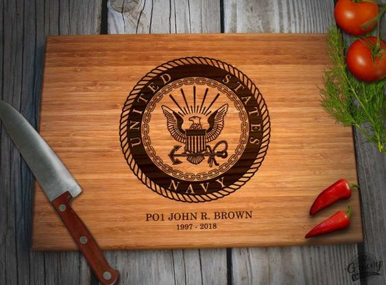 Military Christmas Gift Navy Personalized Retirement Gift Engraved Bamboo Wood Cutting Board USN Name Rank Date Caramel or Natural