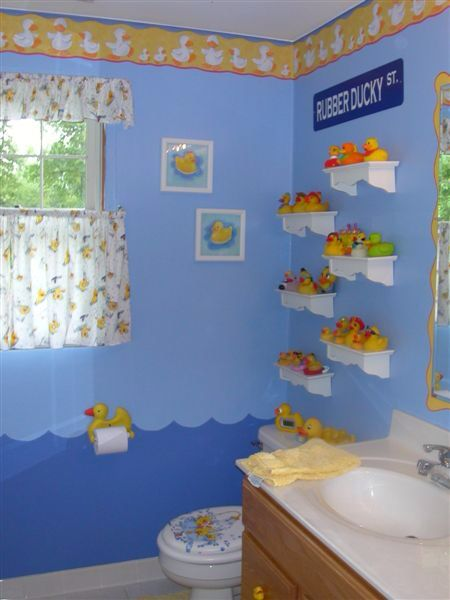 Rubber ducky bathroom with display shelves duckies for Rubber ducky bathroom ideas