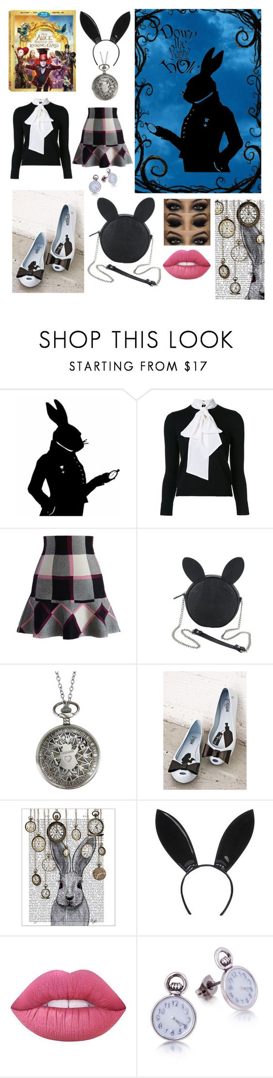 """""""Through the Looking Glass: Rabbit"""" by whatisshewearing ❤ liked on Polyvore featuring Alice + Olivia, Chicwish, Disney, Melissa, FabFunky, Topshop, Lime Crime, contestentry and DisneyAlice"""