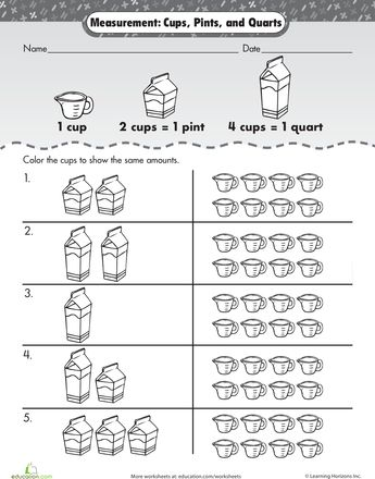 measurement mania cups pints and quarts cups worksheets and articles. Black Bedroom Furniture Sets. Home Design Ideas
