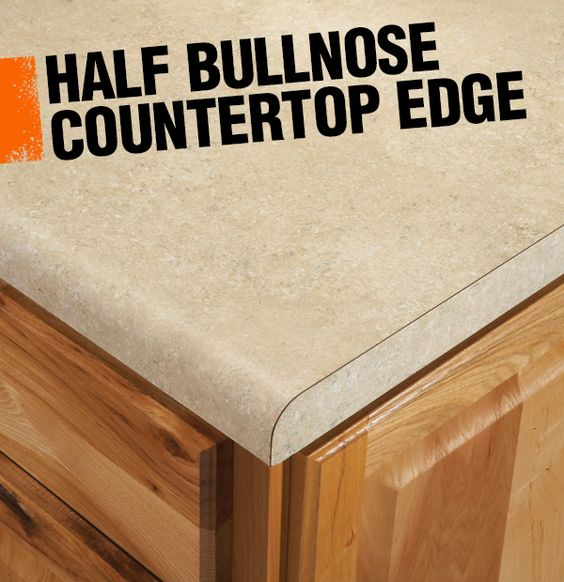 or demi-bullnose countertop edge has a rounded corner on the top edge ...