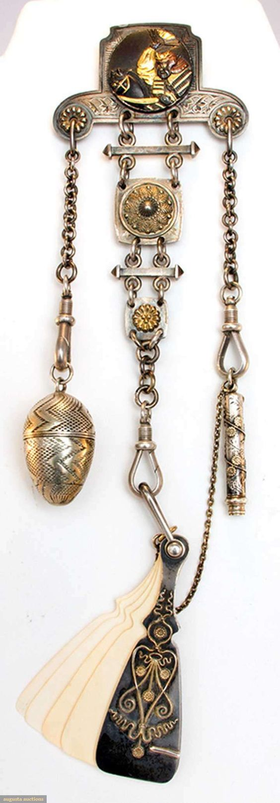 Silver & Gold Chatelaine, Japan, 19th C, Augusta Auctions, April 9, 2014 - NYC, Lot 153