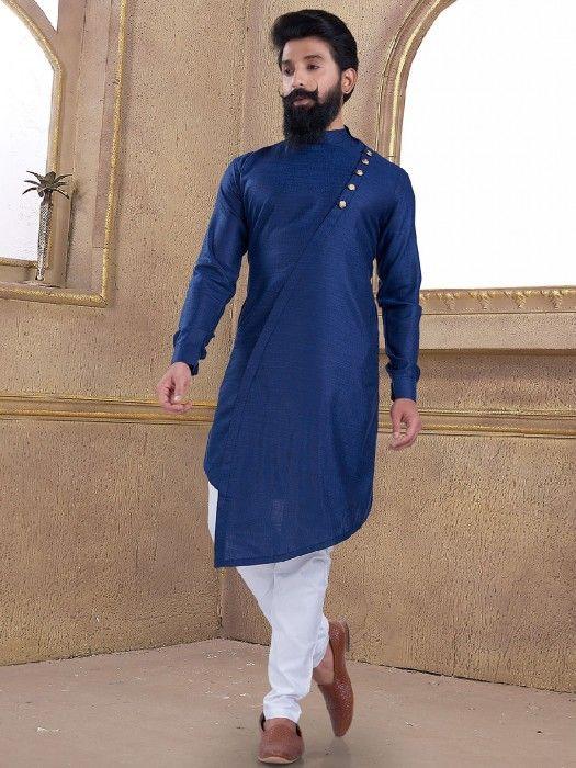 Cotton Silk Blue Plain Kurta Suit Gents Kurta Design Boys Kurta Design Mens Kurta Designs