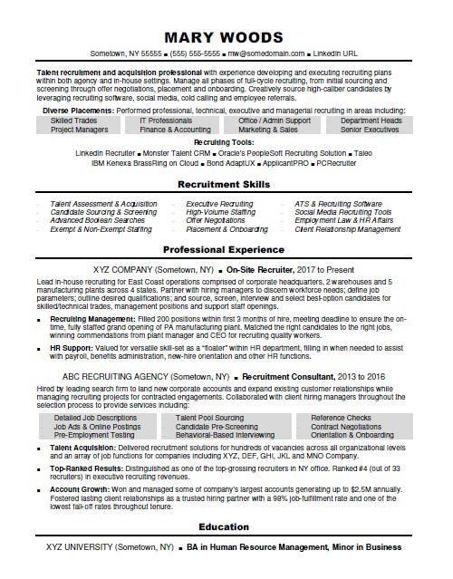 Recruiter Resume Sample Monster In 2020 Recruiter Resume Resume Template Manager Resume