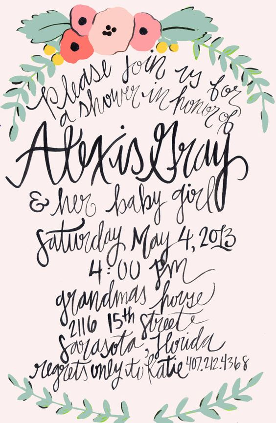 Calligraphy Baby Shower Invitations Wedding Stationery