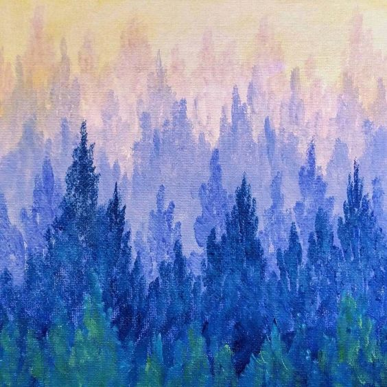 How to paint a misty mountain forest easy acrylic for Painting a forest in acrylics