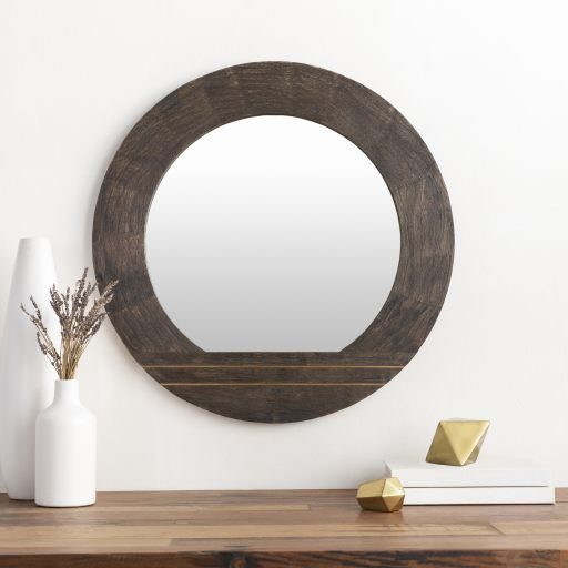 Haveli Brown And Gold Circle Accent Wall Mirror In 2020 Mirror Wall Dark Wood Frames Round Wall Mirror