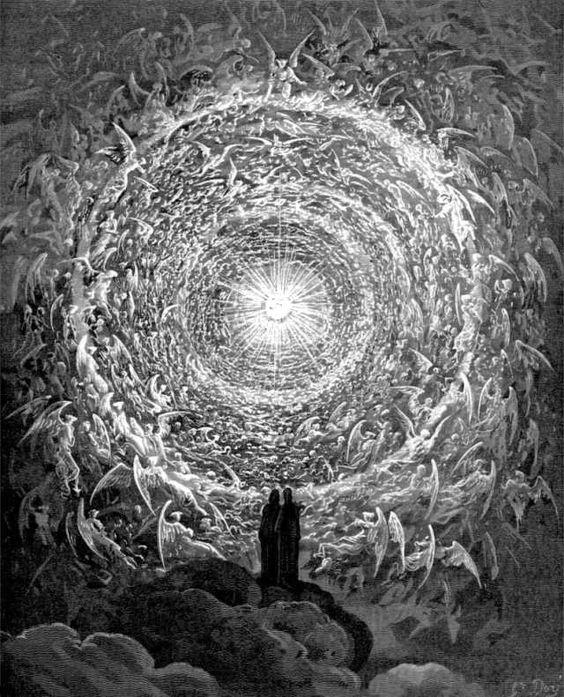 """Dante und Beatrice vor dem Empyreum, (griech. """"im Feuer""""). Es galt Aristoteles als höchster Teil des Himmels, im Christentum war es der Aufenthaltsort Gottes (Illustration von Gustave Doré, 1861)."""