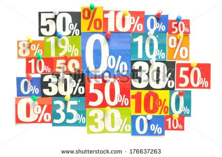 Discount - Various colored newspaper percent snippets
