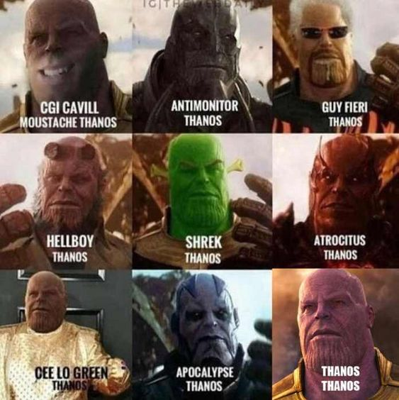 Thanos in funny look of other heroes and villains