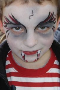 Boy Zombie Face Paint | boy face painted as Dracula at a Kids Halloween event in Cheltenham in ...